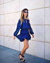 dress,tumblr,off the shoulder,off the shoulder dress,blue dress,mini dress,sandals,flat sandals,black sandals,sunglasses,shoes