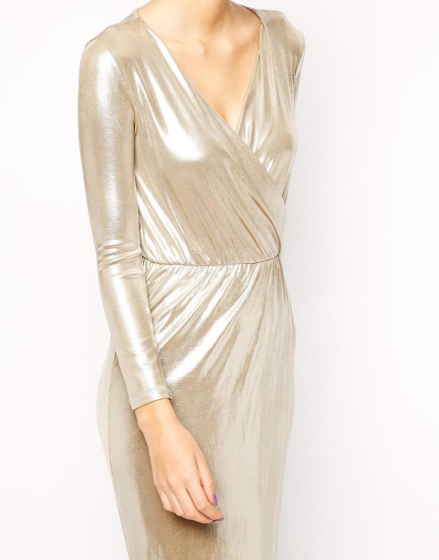 Asos petite sexy wrap maxi in silver metallic at asos.com