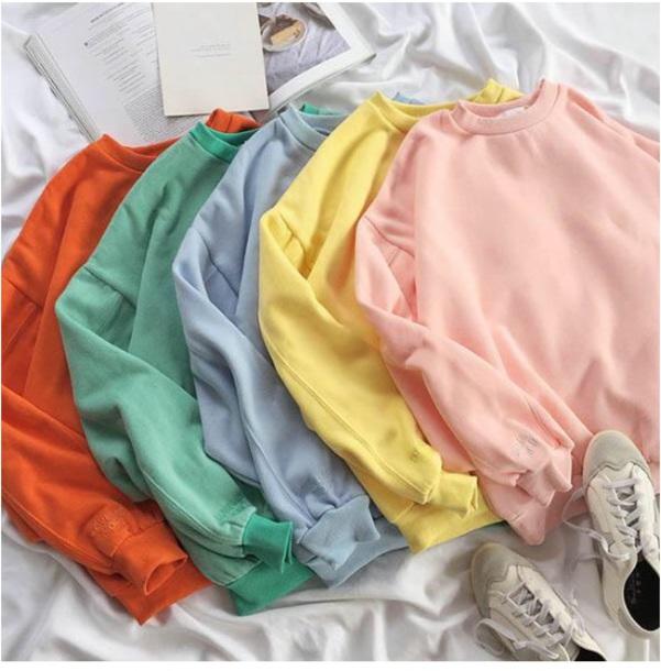 sweater girly sweatshirt jumper colorful pink yellow blue green orange