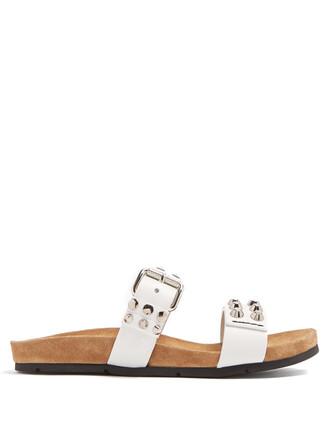 embellished leather white shoes