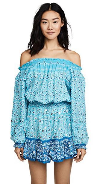Juliet Dunn dress mini dress mini off the shoulder aqua turquoise