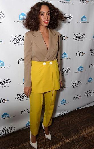 jacket blazer pants pumps solange knowles yellow two-piece suit