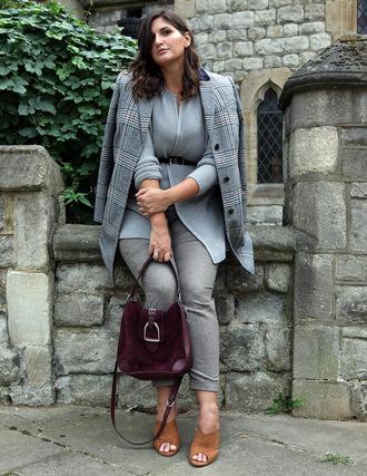 fashion foie gras blogger jacket pants bag shoes grey pants grey jacket mules