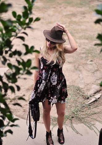 love maegan blogger swimwear dress brown hat hat felt hat fedora floral dress summer dress mini dress short dress black bag sandals sandal heels lace up sandals