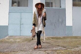 madame rosa blogger jacket sweater t-shirt pants hat bag shoes