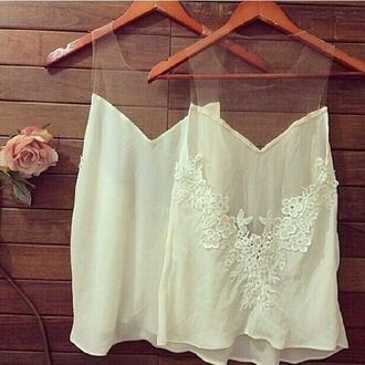 tank top transparent top crop tops nice white summer shirt