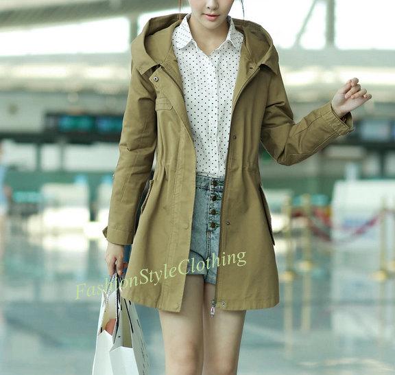 Khaki hooded coat/cotton coat/hoodie coat/cotton jacket/casual loose coat/windcoat windbreaker windcheater plus size coat two pocket f33