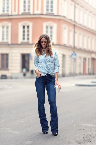 lisa olsson blogger jeans denim denim shirt shirt coat shoes jewels