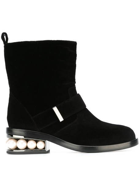 Nicholas Kirkwood biker boots women pearl leather black velvet shoes