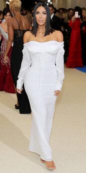 dress,white,white dress,bustier dress,maxi dress,kim kardashian,kardashians,met gala,met gala 2017