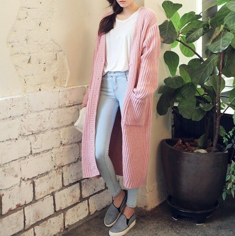 Double pocket knit coat long cardigan from doublelw on storenvy