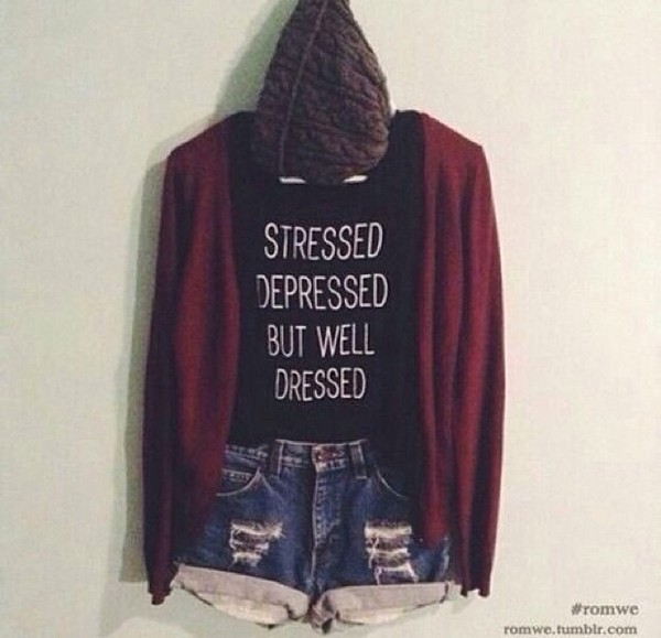 shirt stressed depressed but well dressed sweater grunge stressed but well dressed