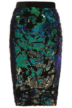 Velvet Sequin Pencil Skirt - Topshop
