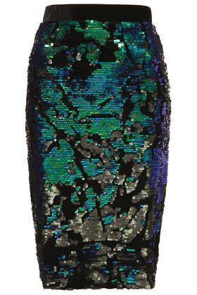 Velvet Sequin Pencil Skirt - Topshop