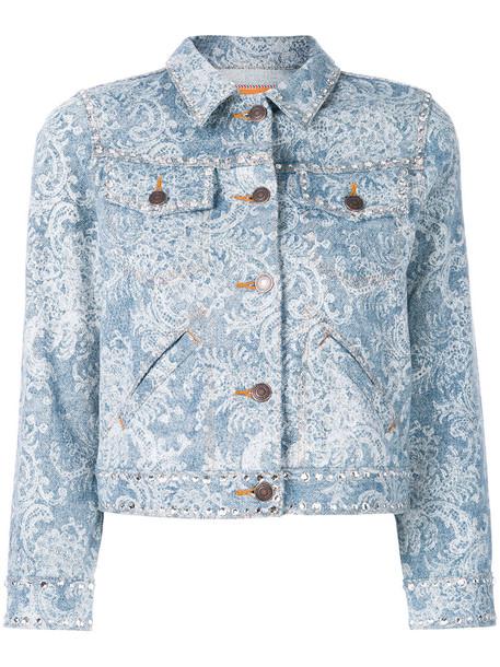 Marc Jacobs jacket denim jacket denim women embellished embellished denim cotton blue