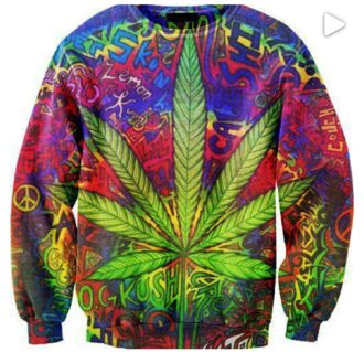 sweater weed crewneck sweatshirt clothes bright rasta blogger celebrity rainbow print psychedelic t-shirt
