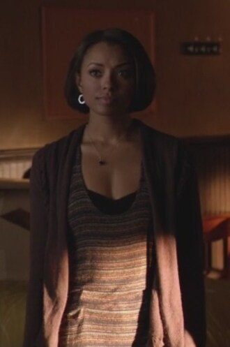 cardigan striped the vampire diaries knit tank top bonnie bennet kat graham purple