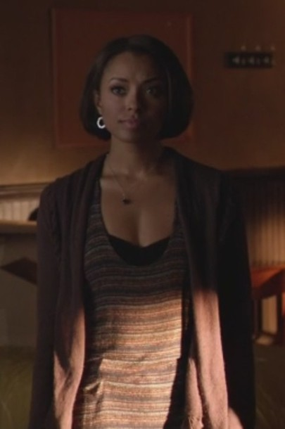 cardigan stripes the vampire diaries knit tank top bonnie bennet kat graham purple