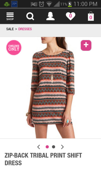 dress orange dress tribal print dress three quarter sleeve