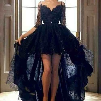 black lace long sleeves asymmetrical dress black lace black dress lace dress gown high low dress long dress prom dress formal long prom dress lace prom dress black prom dress sexy prom dress black lace dress prom long
