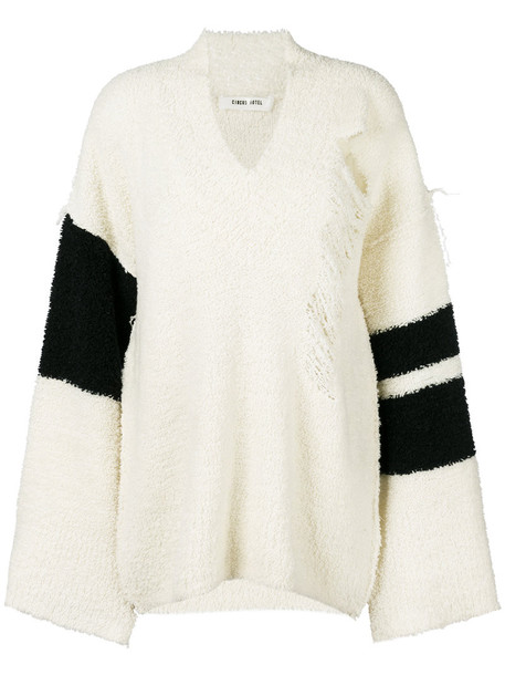Circus Hotel jumper oversized women white wool sweater