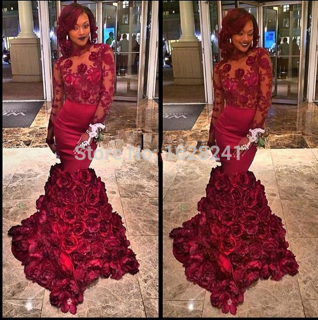 Shop Sexy Backless Mermaid Prom Dresses Burgundy Flower Floor ...
