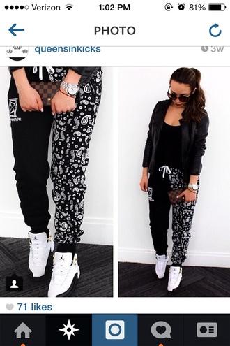 dope sweatpants black and white paisley bandana print pants