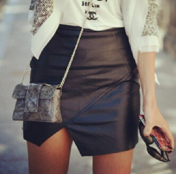Black Leather Asymmetrical Skirt - Dress Ala