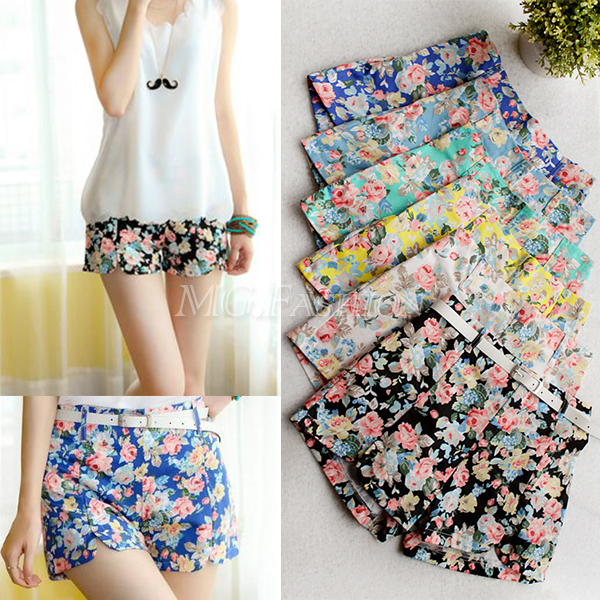 Women Floral Print Elastic High Waist Pants Shorts Mini Trouser Short Pants | eBay