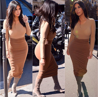 kim kardashian kardashians nude latte beige caramel beige dress beige skirt beige top latte top nude dress neutral tones earth tones