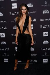 dress,sexy,sexy dress,sandals,emily ratajkowski,NY Fashion Week 2016,model off-duty,gown,prom dress,plunge dress,plunge v neck,black dress,cut-out dress,shoes,fashion week 2016