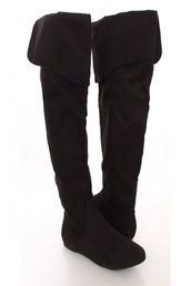 shoes,black suede thigh high boots