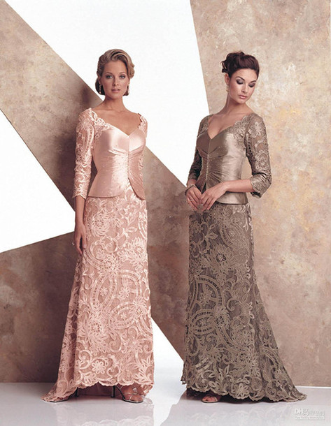 Dress: lace, mother of the bride dress, long sleeves, prom dress ...