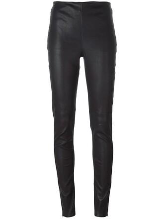 women spandex leather cotton blue pants
