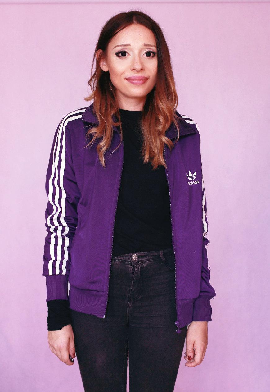 ee85cf426dfb 90s ADIDAS jacket Sports oldschool sporty sweatshirt. Purple White ...