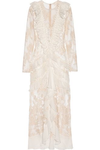 gown chiffon lace white silk dress