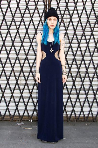dress long dress black cut out maxi dress