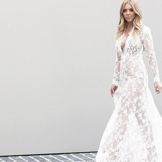 dress lace dress lace wedding dress wedding clothes bride bridal white lace dress