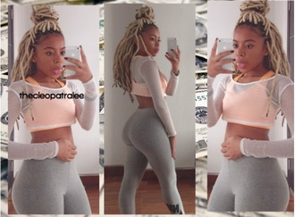 thecleopatralee orange top mesh girl booty babe bum leggings nike nikes bra blonde dreads mesh top instagram leggings nike leggings workout leggings nike sports bra sportswear sports bra blonde hair dreads dreadlocks cropped cropped hoodie african american tumblr fashion high waisted grey leggings mesh crop tops outfit outfit idea