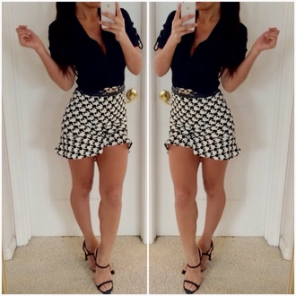 skirt print blouse black white white skirt black heels style heels strappy sandals outfit trendy office outfits ootd belt button up blouse checkered ruffle
