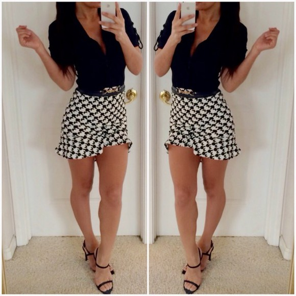 blouse black white button up blouse style checkered skirt print white skirt black heels heels strappy sandals outfit trendy office ootd Belt ruffle
