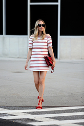 shoes,cold shoulder,Aquazzura sandals,sandals,red sandals,red high heels,dress,brooklyn blonde,blogger,striped dress,bag,red bag,sunglasses,black sunglasses,summer dress,summer outfits,off the shoulder dress