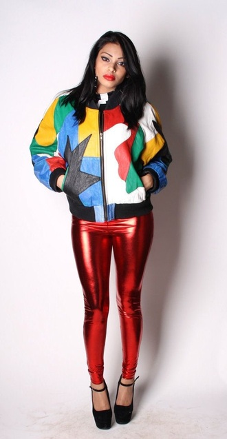 jacket rainbow bomber jacket colorful color blocked jacket hip-hop multi-colored