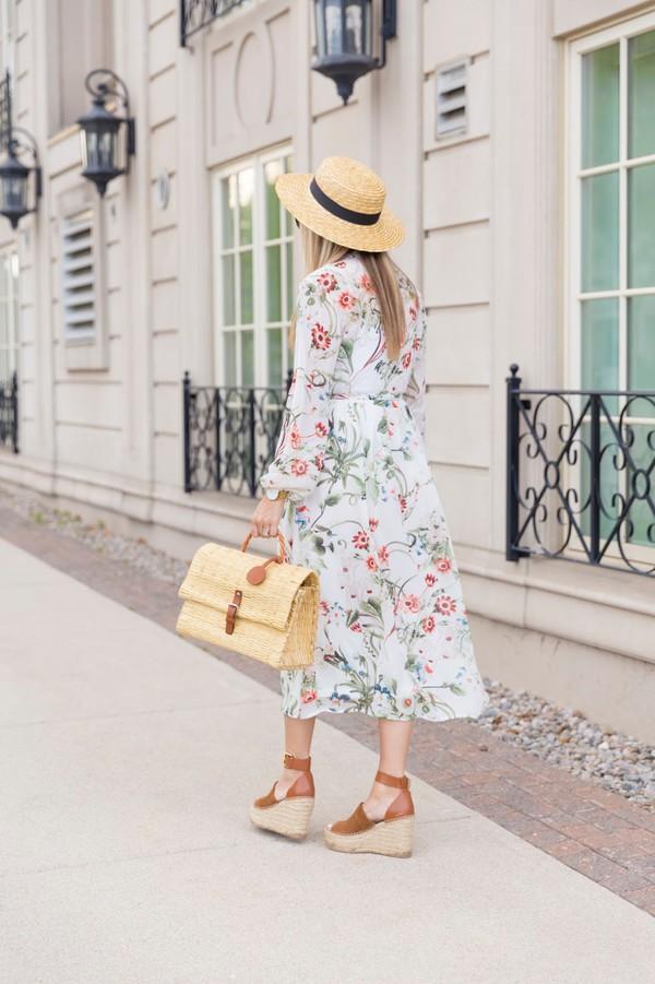 dress tumblr floral floral dress long sleeves long sleeve dress hat sun hat bag woven bag sandals wedges wedge sandals