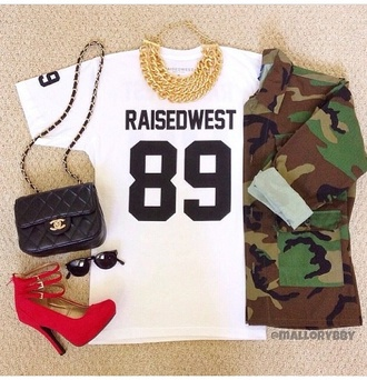 shirt white t-shirt t-shirt jacket sunglasses jewels bag jersey chanel round sunglasses black sunglasses purse camouflage camo jacket raisedwest 89 top