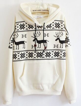 white sweater hoodie winter outfits christmas christmas sweater deer aztec comfy cozy warm white hoodie