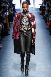 jacket,fausto puglisi,runway,model,milan fashion week 2016,fashion week 2016,blouse,boots,pants,leather pants,fall outfits