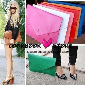 Oversized envelope clutch purse handbag multi colours