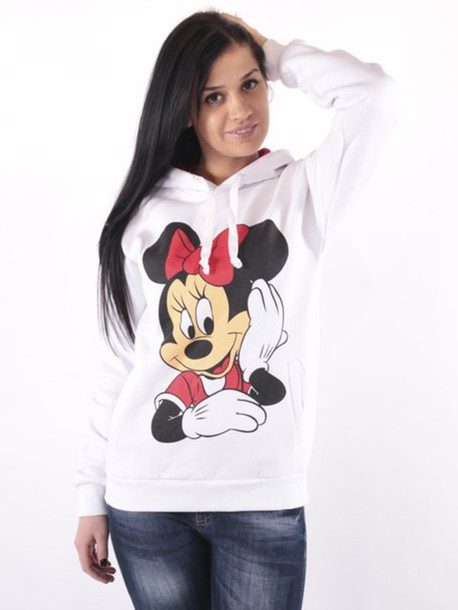 sweater mini mouse hoodie mini mouse hoodies white comfy outfit jeans pretty