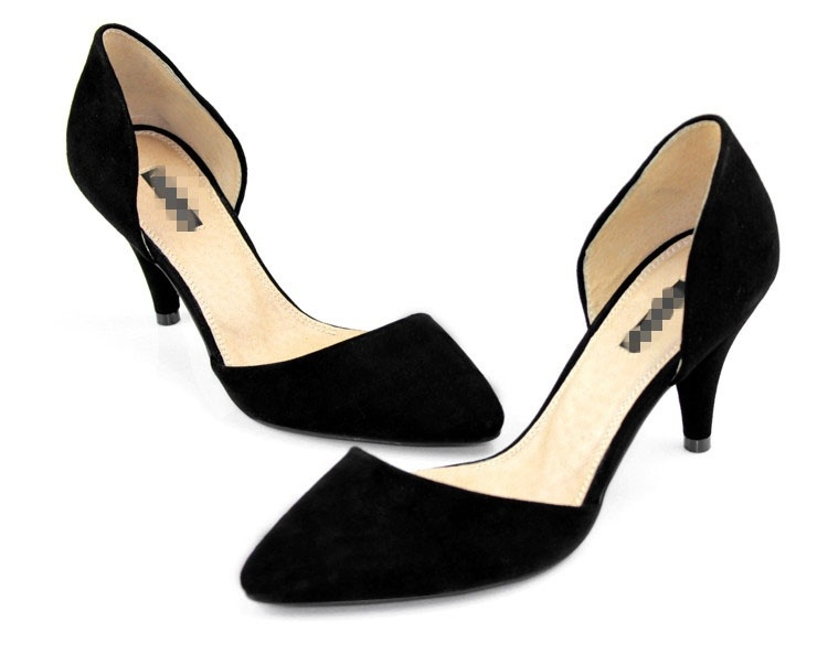 High Heel Shoes Suede Kitten Heel Pointed Toe Black Brown Party ...